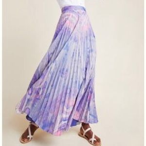 NWT Anthropogie Marble Dye Pleated skirt